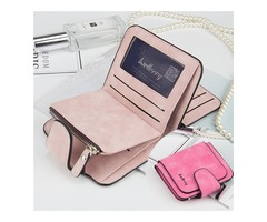 Women Trifold Faux Leather Short Wallet 8 Card Slot Coin Pur