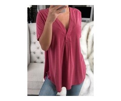 Plus Size Solid Casual V-Neckline Half Sleeve Blouses (1645403222)