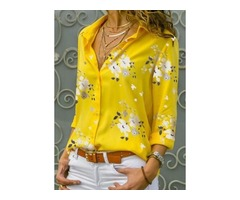 Floral Casual Collar Long Sleeve Blouses (1645402692)