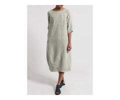 Plus Size Solid Boat Neckline Half Sleeve Midi O Dress (1955395757)