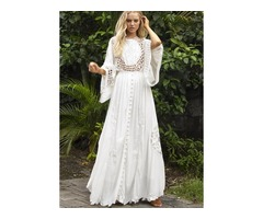 Solid Hollow Out Round Neckline Maxi X-line Dress (1955395472)