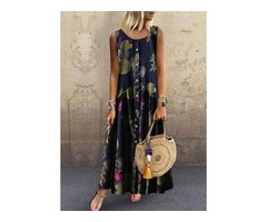 Floral Round Neckline Sleeveless Maxi A-line Dress (1955398766)