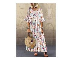 Floral Round Neckline Half Sleeve Maxi A-line Dress (1955398732)