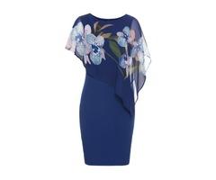 Plus Size Floral Round Neckline Short Sleeve Knee-Length Sheath Dress (1955388313) | free-classifieds-canada.com