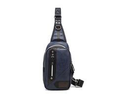 Men PU Leather Casual Business Crossbody Bag Chest Bag Outdoor Sports Shoulder Bag Weekender Bag