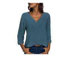 Solid Elegant V-Neckline 3/4 Sleeves Blouses (01645346340)