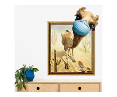 Miico Creative 3D Desert Camel Frame PVC Removable Home Room Decorative Wall Door Decor Sticker