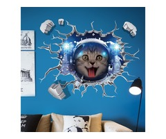 Miico Creative 3D Space Astronaut Cat Broken Wall PVC Removable Home Room Decorative Wall Floor Deco