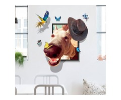 Miico Creative 3D Dog Wear Cap Bird Butterfly Frame PVC Removable Home Room Decorative Wall Floor De