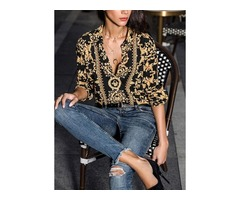 Floral Elegant Collar Long Sleeve Blouses (01645372844)